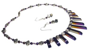 Handmade Purple Hematite & Crystal Necklace Set N178