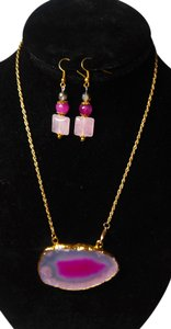 Other Gold Plated Agate Gemstone Pendant Necklace Set N179