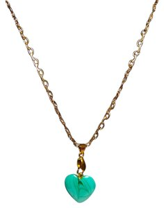 Other Teal Stone Necklace Gold Base Metal Chain N217