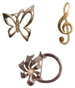 3 Fashion Pin Back Brooch Lot - Butterfly, Music Sign, Flower