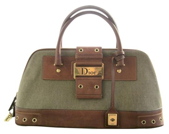 Preload https://item1.tradesy.com/images/dior-rare-limited-edition-christian-diorissimo-street-chic-army-green-brown-gold-canvas-leather-meta-1217375-0-0.jpg?width=440&height=440