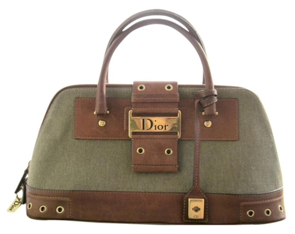 252bf937ffa0 Dior Limited Edition Rare Unique Canvas Leather Hardware Satchel in Army  Green Brown Gold ...