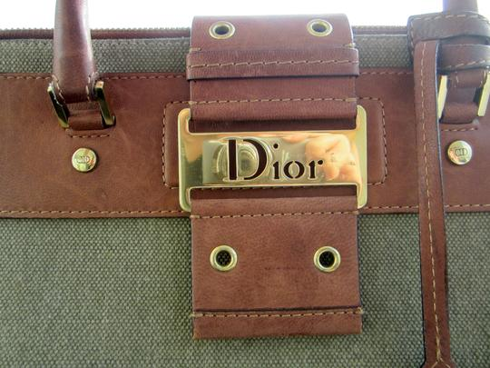 Dior Limited Edition Rare Unique Canvas Leather Hardware Satchel in Army Green Brown Gold Image 1
