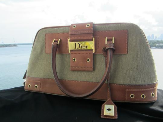 Dior Limited Edition Rare Unique Canvas Leather Hardware Satchel in Army Green Brown Gold Image 3