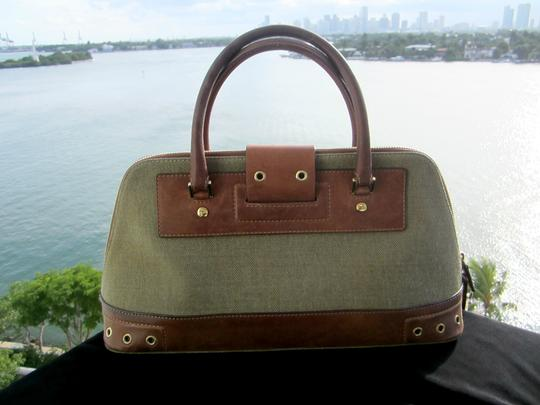 Dior Limited Edition Rare Unique Canvas Leather Hardware Satchel in Army Green Brown Gold Image 5