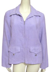 Christopher & Banks New Lavender Faux Suede Soft Spring Zippered Zipup Nwt Large 12 14 purple Jacket