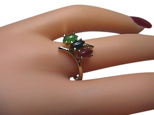 Unknown Beautiful Sterling Silver Multi Color Jade Ring