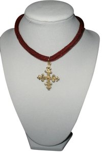Burgundy Velvet Choker with Gold Cross