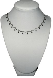 Scalloped Design Choker Necklace with Black Cubic Zirconias