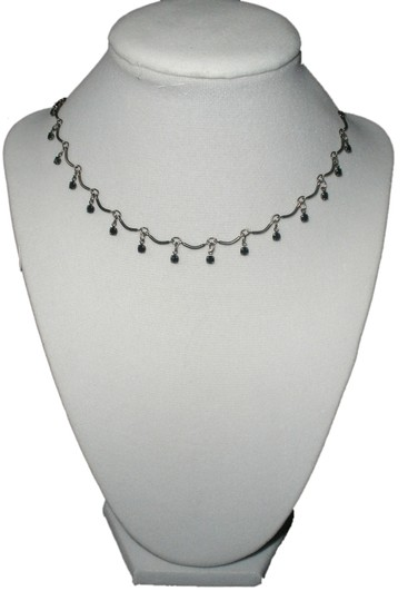 Other Scalloped Design Choker Necklace with Black Cubic Zirconias