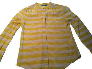 Pim + Larkin Silk Work Ready Business Casual Top Yellow and cream