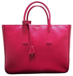 Saint Laurent Pebble Grain Leather Shopping Tote in Fuschia