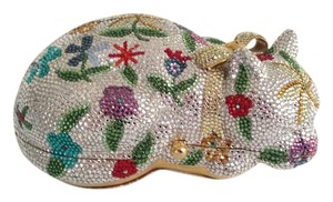 Judith Leiber Leather Crystal Vintage White, red, green, purple, teal, blue and gold crystals Clutch