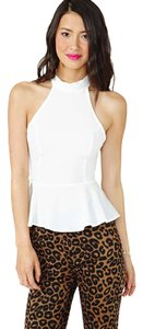 Nasty Gal Peplum Top White