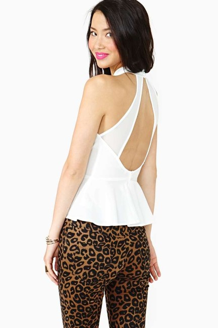 Nasty Gal Peplum Open Back High Neck Top White