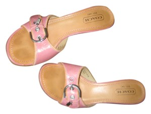 Coach Leather Pink & Tan Sandals