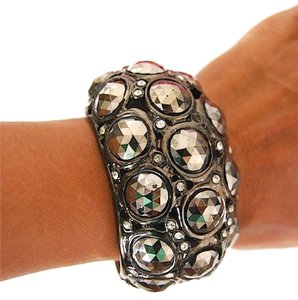 Kenneth Jay Lane Kenneth J lane Gunmetal Cabochon Bubble Cuff Bracelet