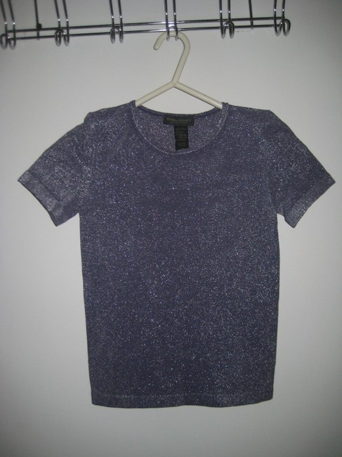 Banana Republic Spandex Top Purple Sparkly with Silver Accents