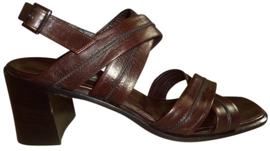 Bally Leather Thick Straps Silver Hardware Made In Italy Dust Bag Brown Sandals