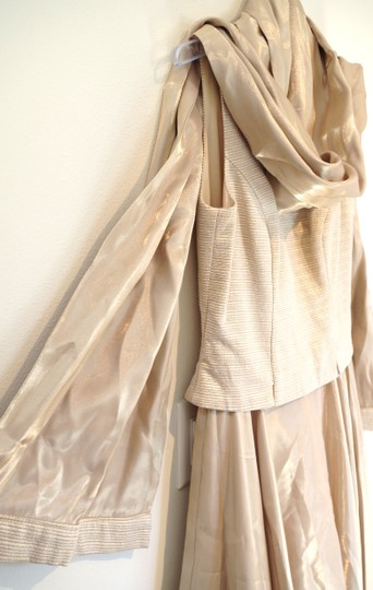 JS Collections Gold Cotton and Acetate Gown Modern Wedding Dress Size 8 (M)