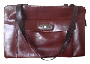 Marni Vintage Leather Structured Satchel in Glazed Burgundy