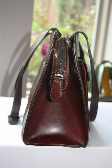 Marni Vintage Leather Structured Made In Italy Satchel in Glazed Burgundy