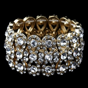 Elegance By Carbonneau Gold Plated Crystal Bowtie Wedding Bracelet