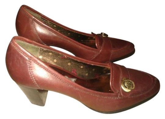 Etienne Aigner Brown Patent Leather Pumps