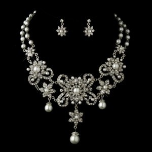 Elegance By Carbonneau Bold White Pearl And Rhinestone Wedding Jewelry Set