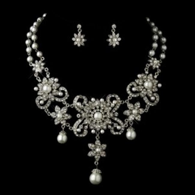 Elegance by Carbonneau Silver/White Bold Pearl and Rhinestone Jewelry Set Image 1
