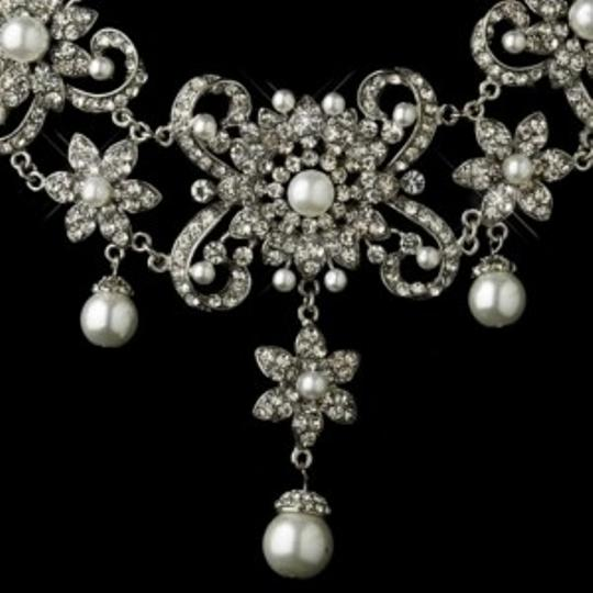 Elegance by Carbonneau Silver/White Bold Pearl and Rhinestone Jewelry Set