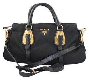 Prada Nylon Tessuto Bn1903 Nero Gold Tone Penny Lane Satchel in Black