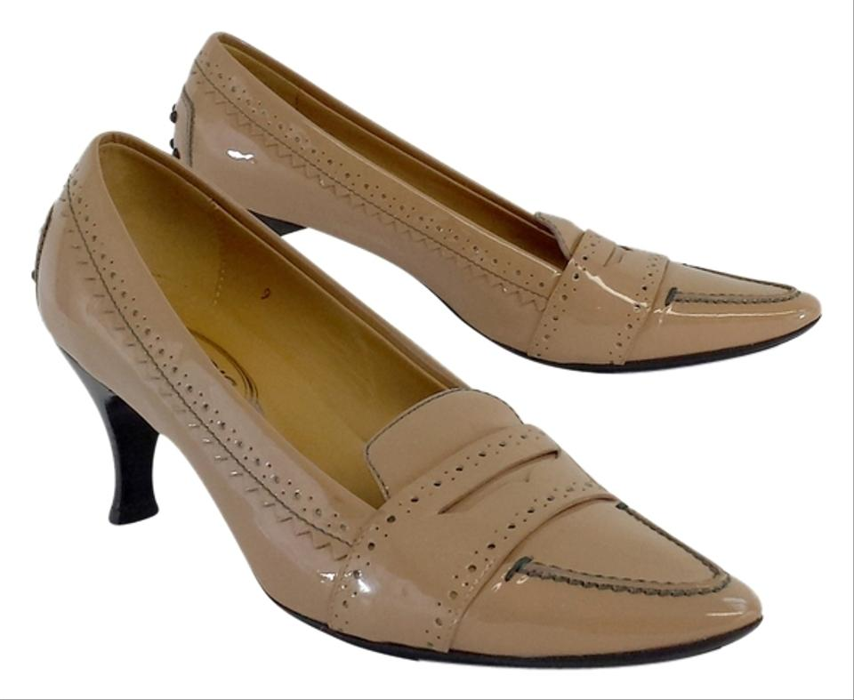 Tod's Heels Nude Patent Leather Loafer Heels Tod's Pumps 070a51