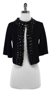 Trina Turk Cropped Black Jeweled Cardigan