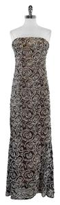 Carmen Marc Valvo Black Blush Floral Lace Overlay Gown Dress