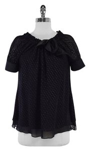 Diane von Furstenberg Black Dotted Silk Top