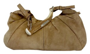 Saint Laurent Tan Suede Mombasa Horn Horn Hobo Bag