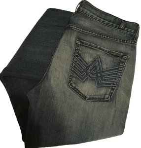 7 For All Mankind Men's Mens Straight Leg A Pocket Relaxed Fit Jeans-Distressed