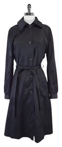 DKNY Black Hooded Trench Trench Coat
