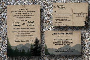Custom Woodsy Wedding Invitation With Pine Trees And Mountains/camping Wedding Invitations/forest Wedding Wedding
