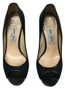 Jimmy Choo Navy Blue & Black Pumps