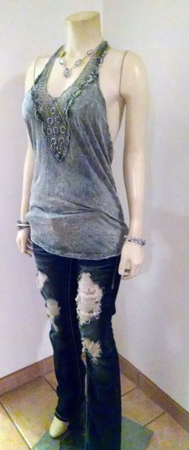 American Age Size Large New With Tags P817 Gray Halter Top