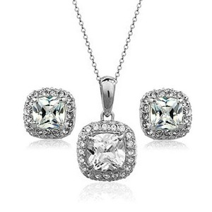 Cubic Zirconia 18k White Gold Plated Sets Use Shining Cz and Earring Set Necklace