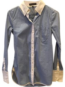 Express Button Down Shirt Blue and white