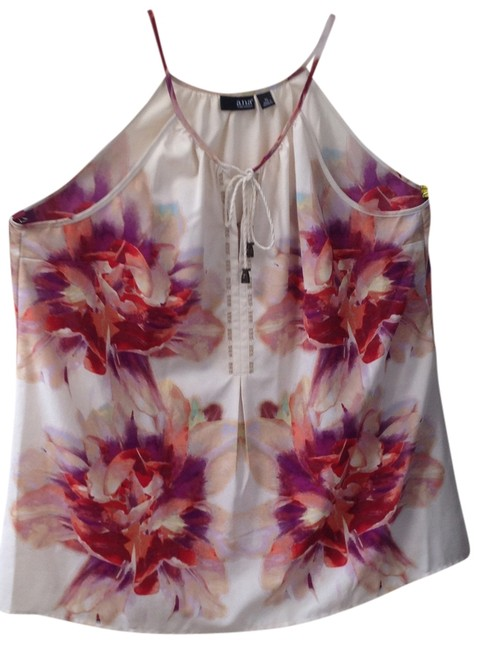 Item - Tan with Fuscia Flowers Light Weight Tank Top/Cami Size 14 (L)