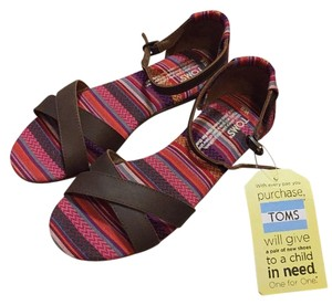 TOMS Multi-color with brown leather straps Sandals