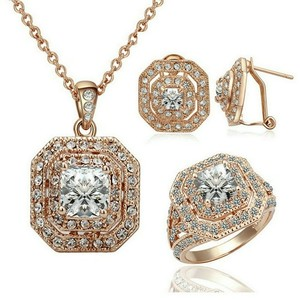 18k Rose Gold Plated Cubic Zirconia Cz Engagement Ring And Necklace And Earring Set Valentine's Day Gift