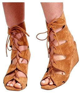 Jeffrey Campbell Suede Sandal Lace Up Cognac Wedges