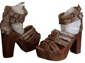 Bed Stü Leather High Heeled Tan Sandals