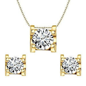 Gold Plated Elequeen 925 Sterling Silver 0.7 Carat Round Cz Necklace Earrings Jewelry Set